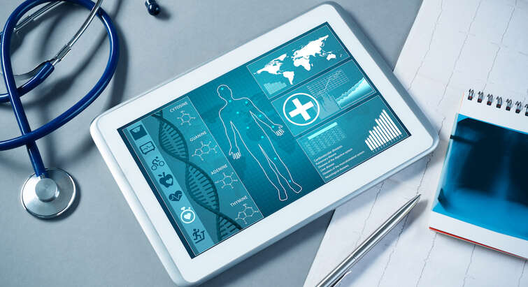 Photo of tablet with medical software